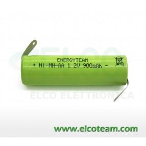 Batteria stilo AA 900 mAh Ni-Mh EnergyTeam lamelle a saldare
