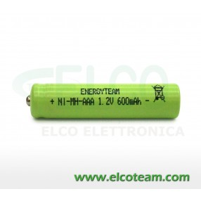 Batteria mini stilo AAA 600 MAh Ni-Cd bottone EnergyTeam