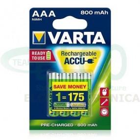 Batterie Ricaricabile VARTA Ministilo AAA 800mAh - Confezione 4 pezzi