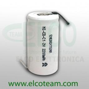 Batteria mezza torcia C 2.2Ah Ni-Cd EnergyTeam lamelle a saldare