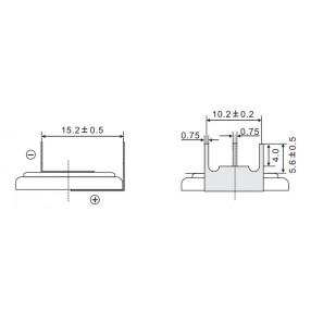 Batteria al Litio CR2032-VAY3 da PCB montaggio orizzontale EEMB Bulk - Dimensioni