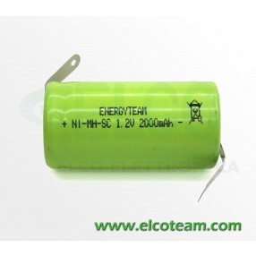 Batteria sub-mezza torcia SC 2.0Ah Ni-Mh lamella a saldare