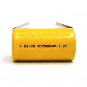 Batteria sub-mezza torcia SC 2.0Ah Ni-Cd MKC lamella a saldare
