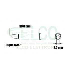 XTCC Punta taglio obliquo 45° per stilo WP120/WXP120 Weller - Dimensioni