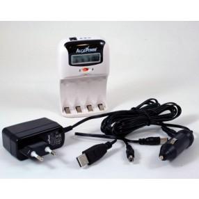 Caricabatterie Ni-MH per batterie stilo e ministilo con display LCD