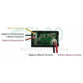 Strumento Doppio Display Voltmetro 0-30V Amperometro 0-5A - Collegamenti