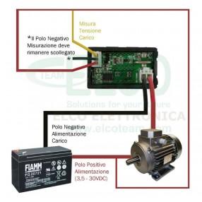 Strumento Doppio Display Voltmetro 0-30V Amperometro 0-5A - Schema di collegamento con alimentazione comune al carico