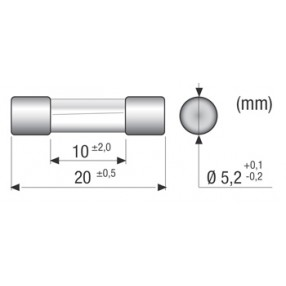 Omega Fusibili CF520120 Fusibile 200mA 5x20mm Intervento Rapido - Dimensioni