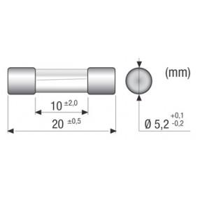 Omega Fusibili CF520216 Fusibile 1,6A 5x20mm Intervento Rapido - Dimensioni