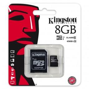 Kingston SDC10G2/8GB microSD 8GB con adattatore