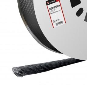 Calza Trecciata in Poliestere Ø 25÷38 mm in Bobina, vendita a metro, colore Nero