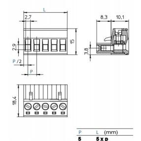 Morsetto Femmina 2 passo 5mm STELVIO CPF