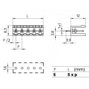 Connettore Maschio passo 5mm STELVIO CPM /A - Dimensioni