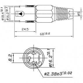 Connettore Microfonico XLR 3 Poli Maschio Volante - Dimensioni