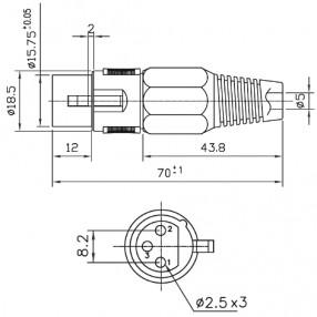 Connettore Microfonico XLR 3 Poli Femmina Volante - Dimensioni