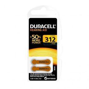 Batteria Duracell DA312 per apparecchi acustici, Blister 6 pezzi