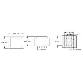 Trasformatore ERA EI30/15,5 - Dimensioni