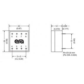 Trasformatore Incapsulato ERA 230V - 15V - 0,08VA EE20 dimensioni