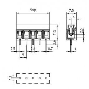 Morsetto passo 5mm STELVIO MRT12