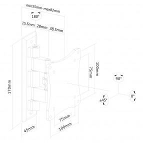 Supporto Orientabile da Parete per TV e Monitor NewStar FPMA-W810BLACK