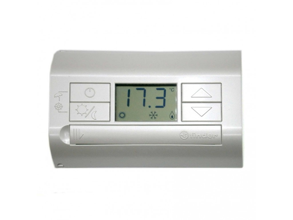 digital thermostat with white pearl finder display