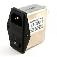 Actronic AR13.6A Filtro EMI con Spina IEC, Interruttore e Portafusibile da 6 Ampere
