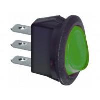Interruttore rotondo Rocker Switch a Bilancere 2 posizioni Luminoso Verde