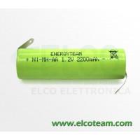 Batteria stilo AA 2.2 Ah Ni-Mh EnergyTeam lamelle a saldare