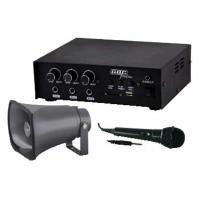 Kit Amplificatore e Tromba per impianto Audio Megafono per Auto e Furgoni 12VDC/230VAC con MP3 e Microfono