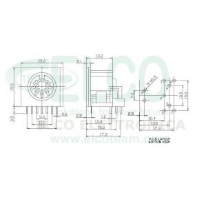 Connettore Femmina DIN 7 poli PCB 90° - Dimensioni