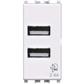 4box USB2.4 Alimentatore USB 2,4A Frutto da incasso per Vimar Plana Bianca