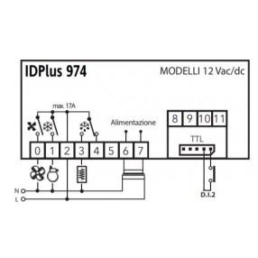 Eliwell IDPlus 974 IDP2EDB300000 Termoregolatore 12 Volt AC/DC per Unità Refrigeranti Ventilate