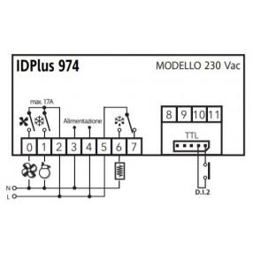 Eliwell IDPlus 974 IDP2EDB700000 Termoregolatore 230 Volt AC per Unità Refrigeranti Ventilate