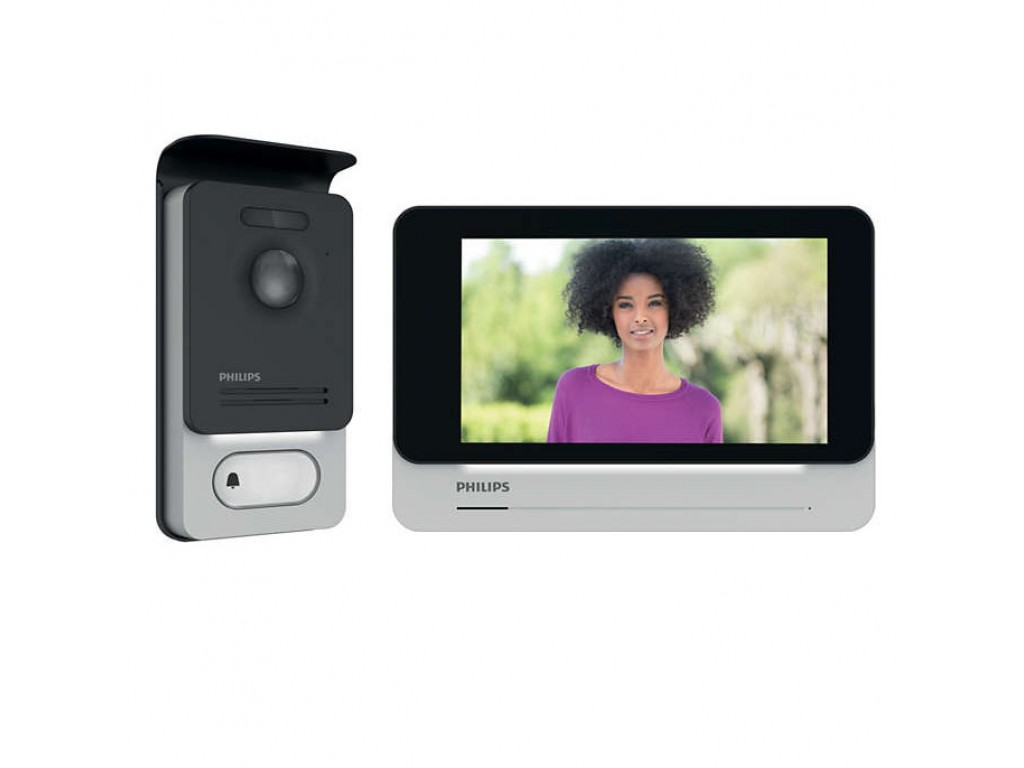 Philips WelcomEye Connect 2 Wire Video Intercom Kit with Wi-Fi Internal  Monitor and External Pushbutton with RFid Reader
