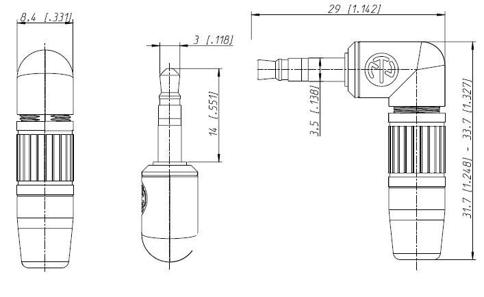 spina jack 3 5 mm stereo angolata 90 u00b0 neutrik ntp3rc