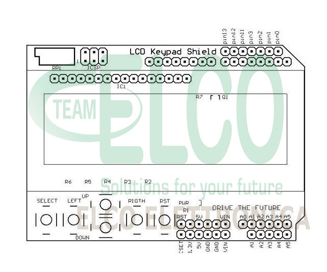 Key Pad LCD Arduino Layout dimensioni