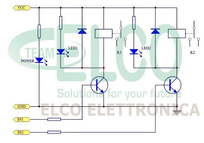 Modulo 2 rele per Arduinio SCHEMA