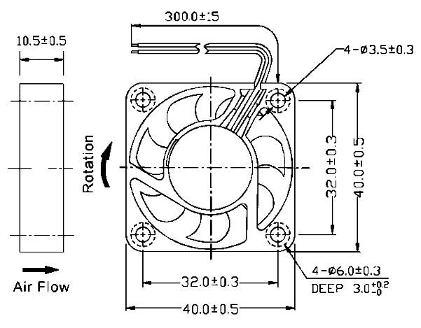 Ventilatore 40x40x10 mm 12VDC su bronzine Size
