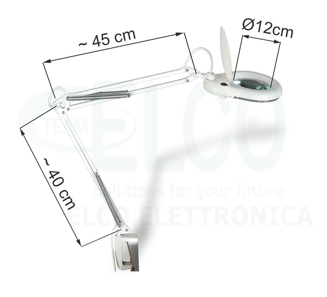 Dimensioni lampada da tavolo con lente fissaggio a morsetto morsetto