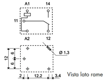 Relè Finder serie 36 Dimensioni e layout
