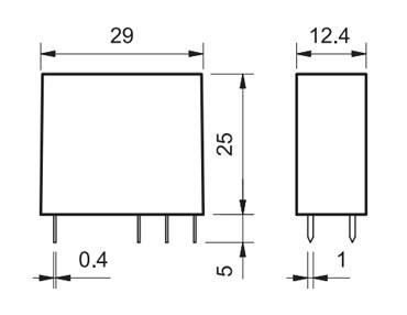 Relè Finder serie 50 dimensioni e footprint